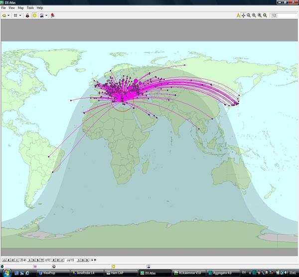 Εικόνα 7 Απεικόνιση σταθμών στον DX Atlas μέσω ViewProp, που ακούστηκαν από τον SV1CDN